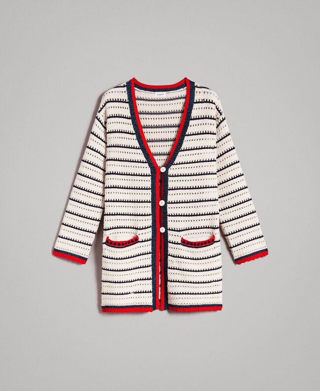 "Openwork knitted cardigan Multicolour Ecru / ""Poppy"" Red / Blue Shadow Woman 191ST3091-0S"