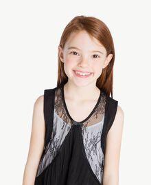 Kleid mit Spitze Zweifarbig Schwarz / Papyrusweiß Kind GS82EE-05