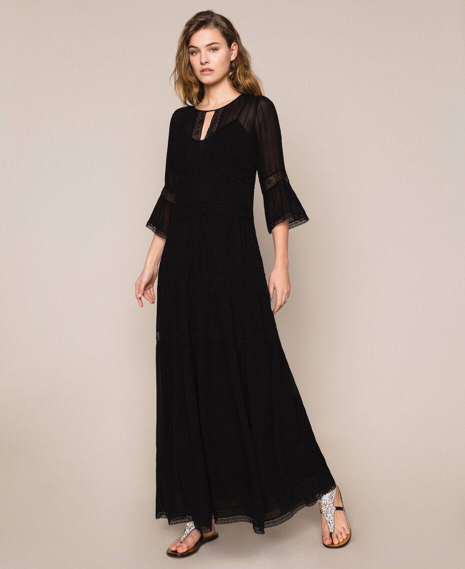 Robe longue en crêpe georgette avec dentelle Noir Femme 201TT2085-01