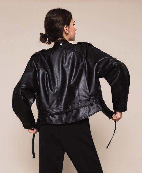 Oversize faux leather bomber jacket