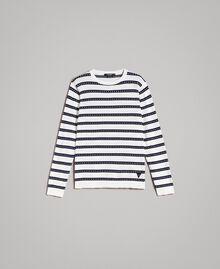 "Crêpe cotton striped jumper Two-tone Opaque White / ""Blackout"" Blue Man 191UT3031-0S"