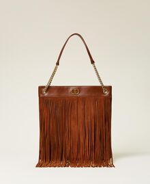 Leather bag with fringes Dark Hide Woman 212TD8010-03