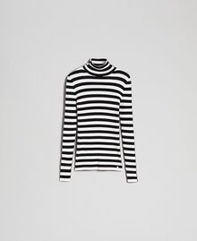 "Turtleneck jumper with two-tone stripes Black / ""Papyrus"" White Stripe Woman 192TP3090-0S"