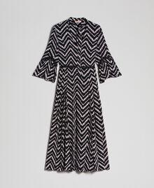 """Floral and chevron print long dress Black / """"Snow"""" Chevron Print Woman 192TP2527-0S"""