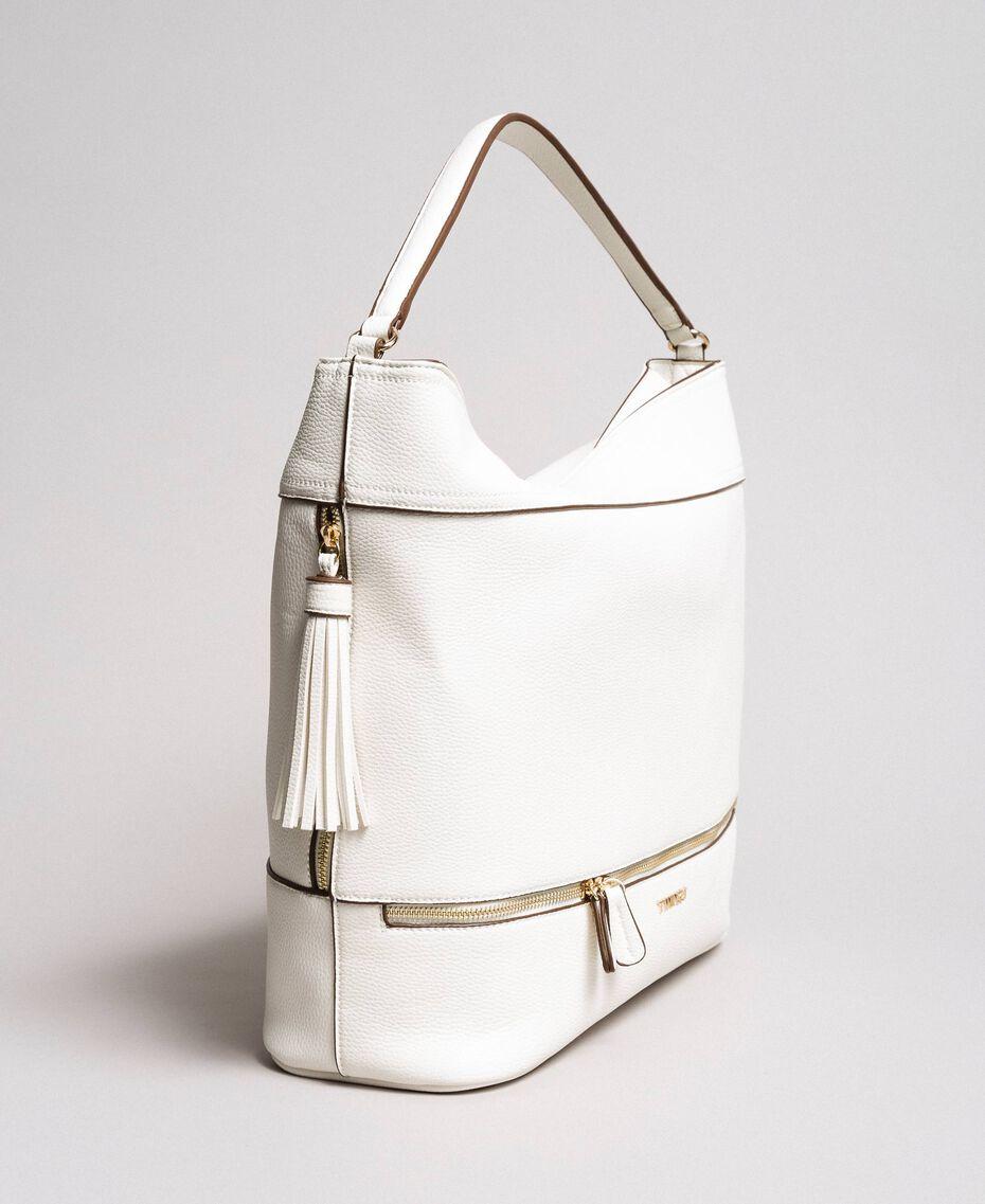 Kunstleder-Hobobag mit Quaste Weiß Schnee Frau 191TA7600-01