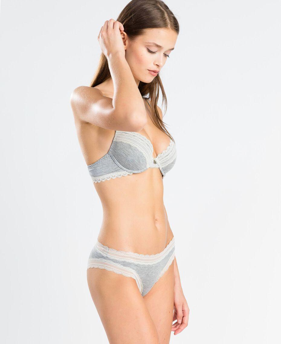 Mélange stretch viscose briefs Medium Gray Mélange Woman LA8B66-02