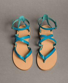 Leder-Sandalen mit Riemchen Keramikblau Frau 191TCT09U-03