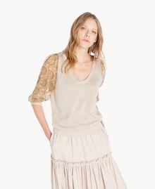 Pullover mit Print Hellglänzendes Dünenbeige Frau TS834D-01