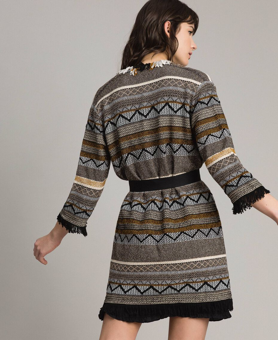 Maxi cardigan with inlay details and fringes Multicolour Neutral Grey Striping Woman 191TT3160-03