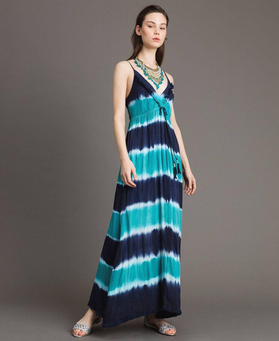 """Vestido largo tie-dye de rayas Multicolor Blunight / Off White / Verde """"Green Bay"""" Mujer 191MT2322-01"""