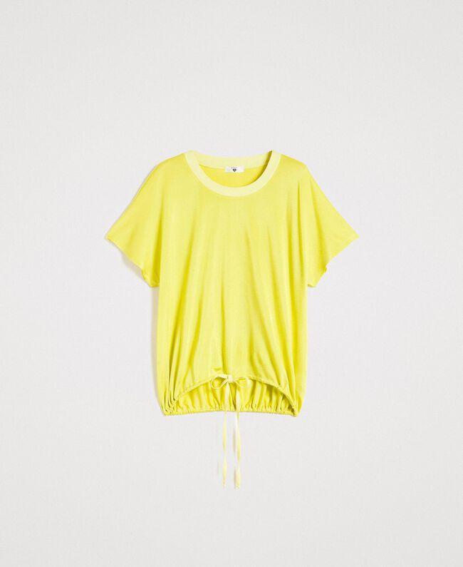 "T-Shirt mit Tunnelzug ""Lemon Juice"" Gelb Frau 191LL23GG-0S"