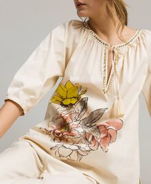 """Poplin blouse with print and studs """"Shell"""" Beige Woman 191MT2143-01"""