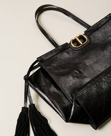 Leather shopper with fringes Black Woman 212TB7110-03