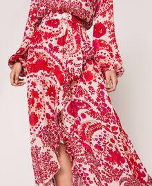 Jupe en crêpe georgette imprimé paisley Imprimé Paisley Rouge «Lave» / Rose«Boutons de Fleurs» Femme 201TP2535-04