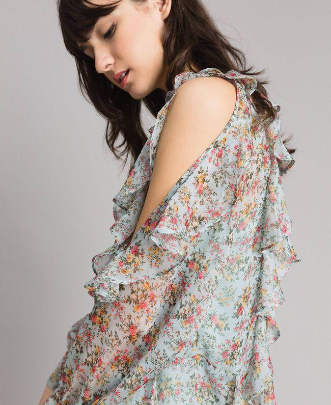 Kleid aus geblümtem Georgette mit Rüschen Motiv Aquamarin Bouquet Frau 191TP2573-04