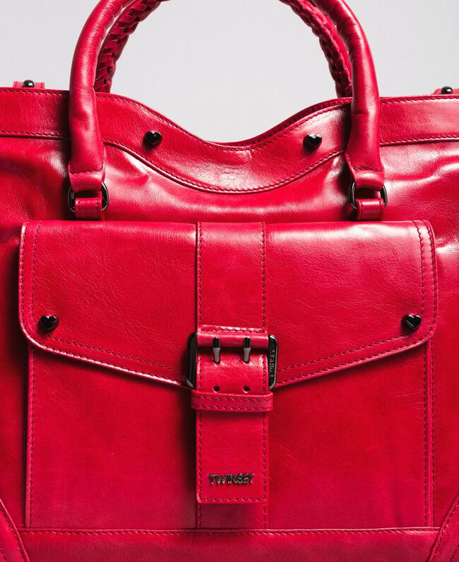 "Rebel leather shopping bag ""Ruby"" Red Woman 191TA7235-04"