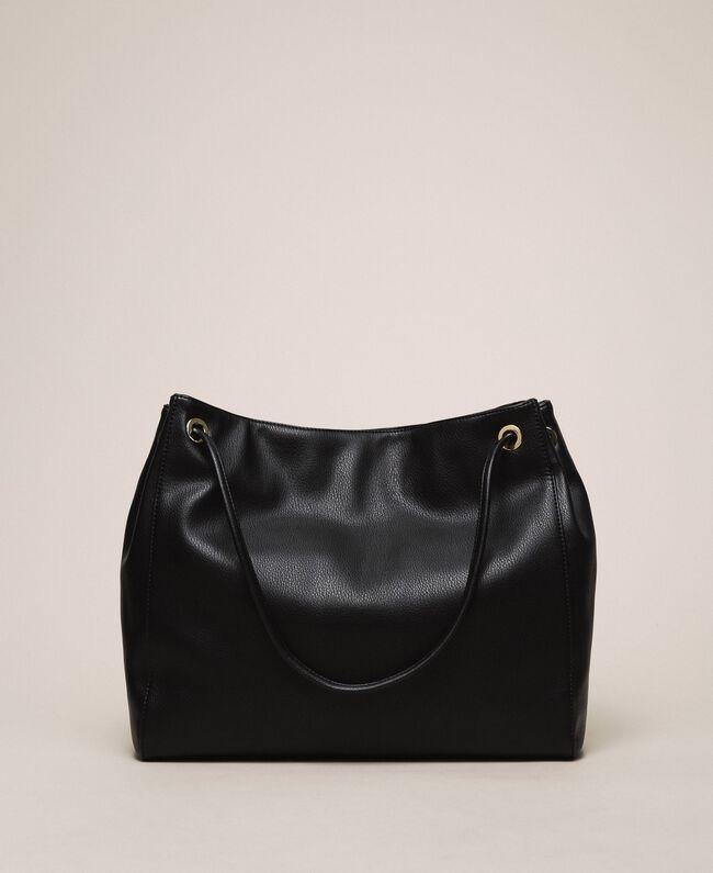 "Hobo bag with studs and heart Black / ""Vanilla"" White Woman 201MA7093-03"