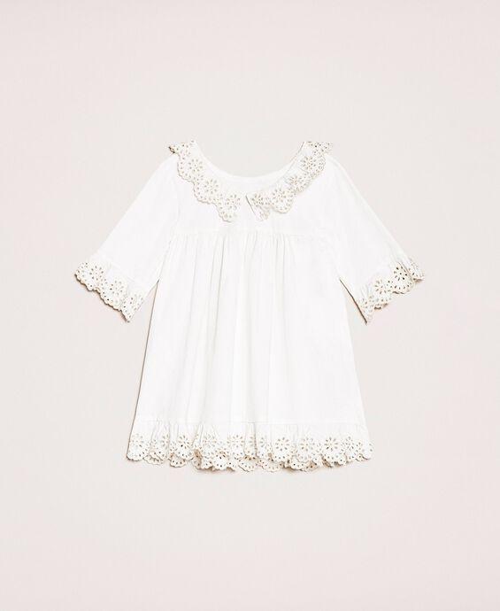 Kleid aus Popeline mit Lochstickerei