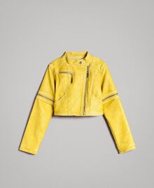 "Faux leather jacket with zip ""Bamboo"" Yellow Child 191GJ2103-01"