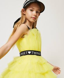 "Tulle dress with belt ""Sunny Lemon"" Yellow Child 211GJ2Q8B-05"