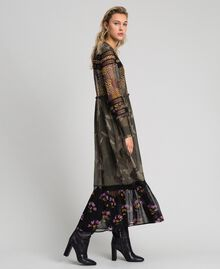 Long dress with camouflage and floral print Camouflage Flower Patch Print Woman 192TT2120-02
