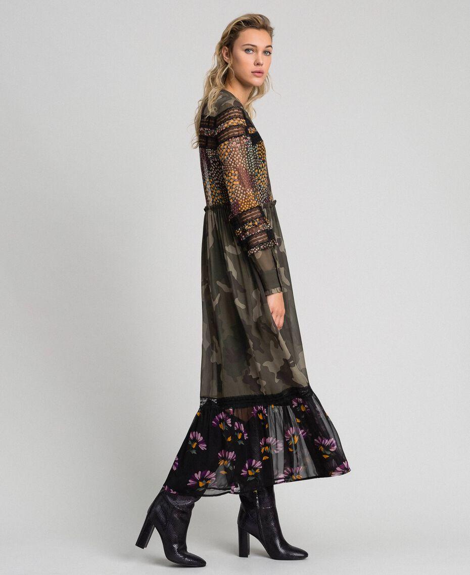 Robe longue avec imprimé camouflage et floral Imprimé Patch Fleur Camouflage Femme 192TT2120-02