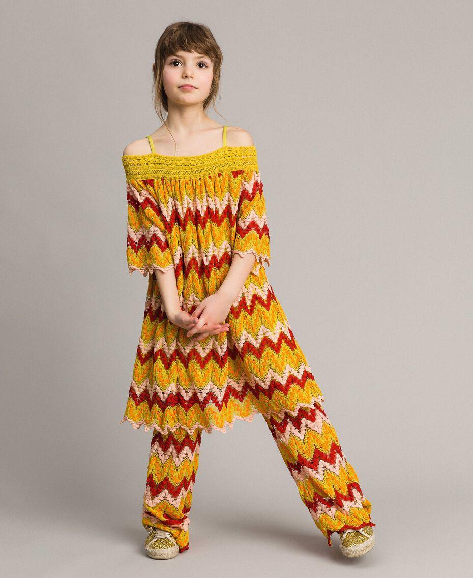 Mehrfarbiges Jacquard-Kleid Mehrfarbiger Jacquard Kind 191GJ2270-0T