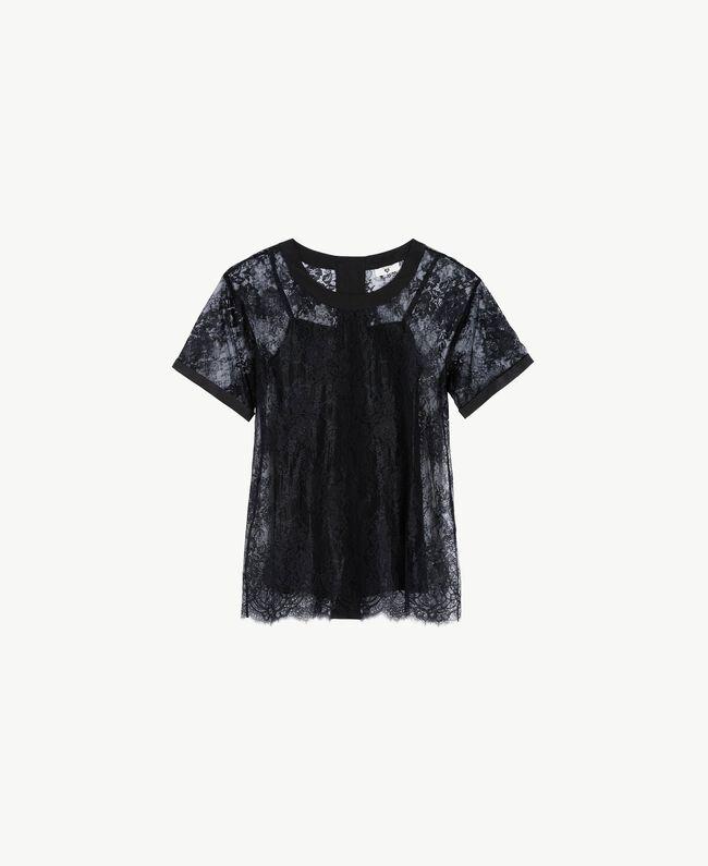 Maxi t-shirt dentelle Noir Femme LS8FFF-01