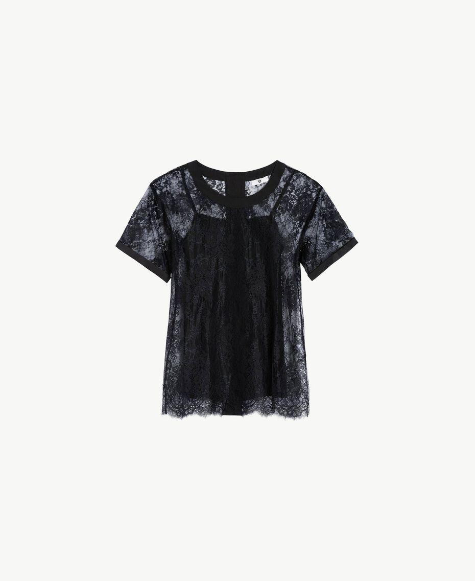 Maxi T-shirt pizzo Nero Donna LS8FFF-01