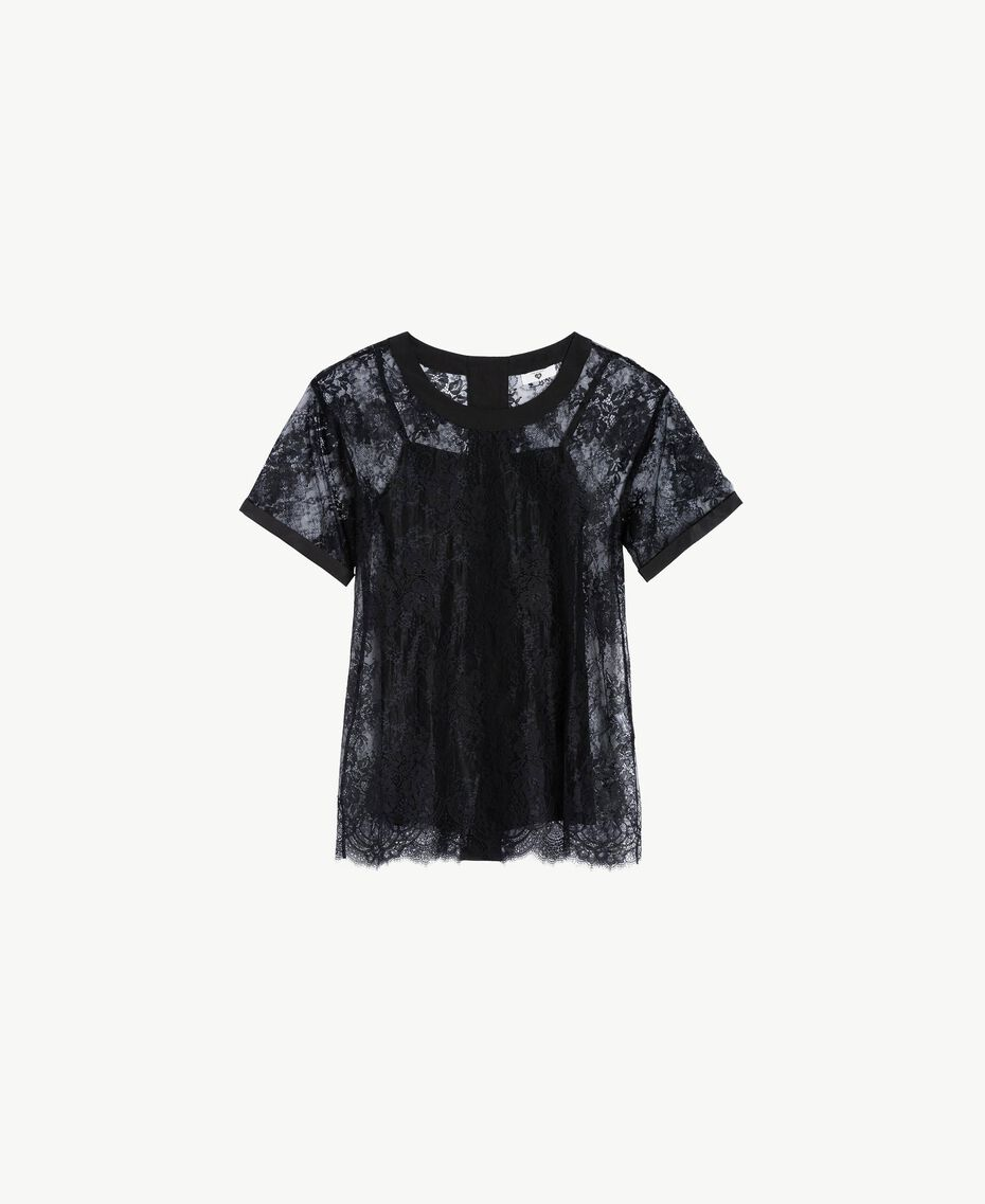 Maxi T-shirt with lace Black Woman LS8FFF-01