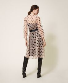 Tulle dress with lace and belt Nude Beige Polka Dot Print Woman 202ST2064-03