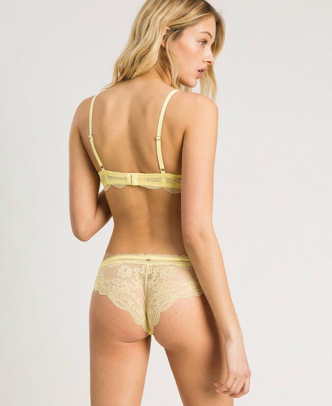 """Lace Brazilian briefs """"Daisy Yellow"""" Woman 191LL6B77-03"""