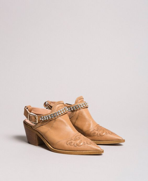 Texan leather sabot shoes with rhinestones