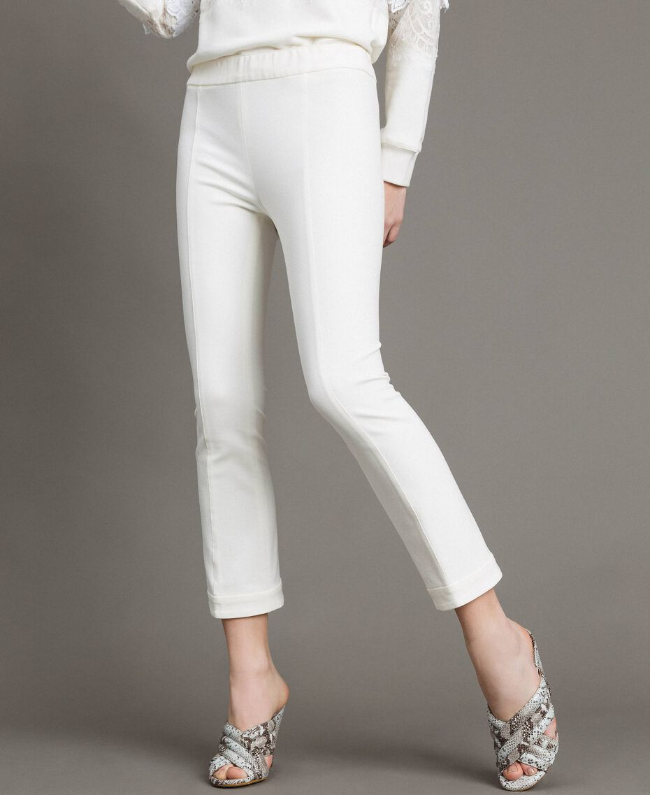 "Milan stitch  flared trousers ""Silk"" White Woman 191TP2424-02"