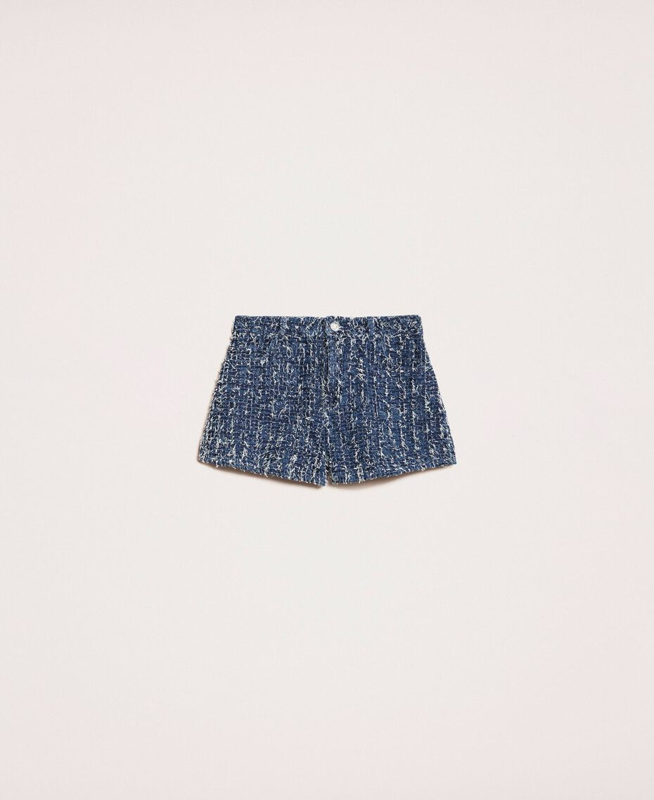 Denim shorts with bouclé Denim Blue Woman 201MP234C-0S