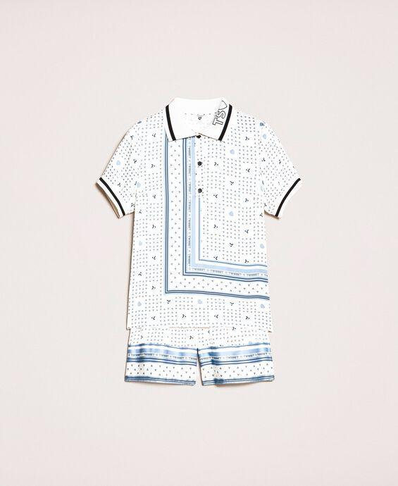 Короткая атласная пижама с принтом логотипа