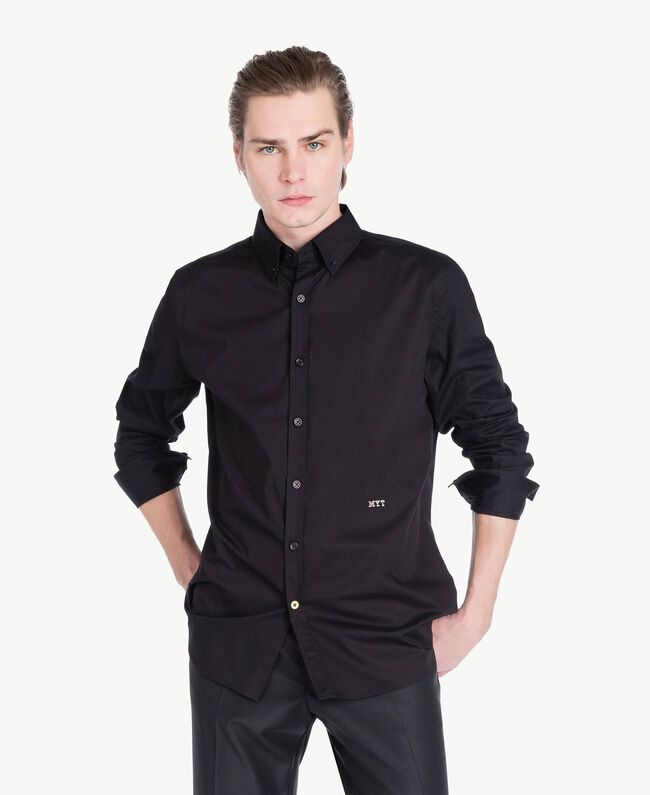 Poplin shirt Black Man US821D-01