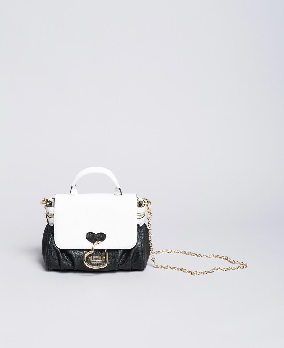 Petit sac Cécile avec cœur incrusté Bicolore Noir / Blanc Glace Femme VA8PA2-02