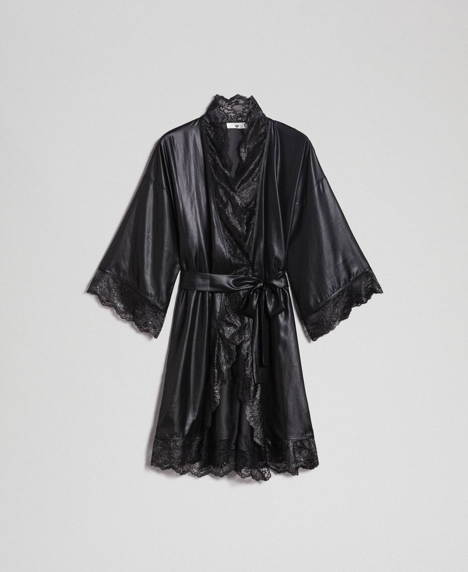Robe de chambre en mousseline lamée Noir Femme 192LL2HCC-0S