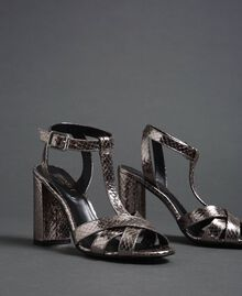 Laminated leather T-bar sandals Laminated Silver Python Woman 192TCP12J-02
