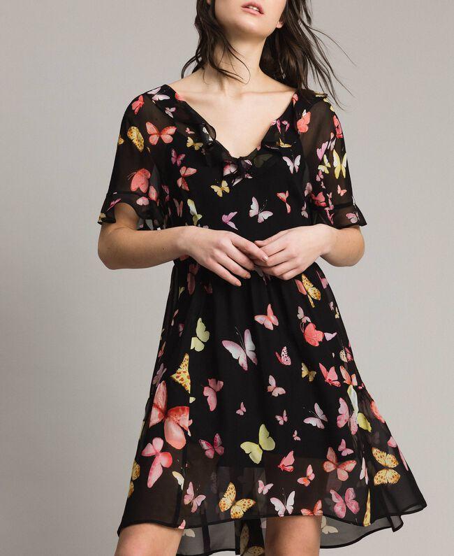 Robe en georgette à imprimé papillon Imprimé Papillon Noir Mixte Femme 191TT2394-01