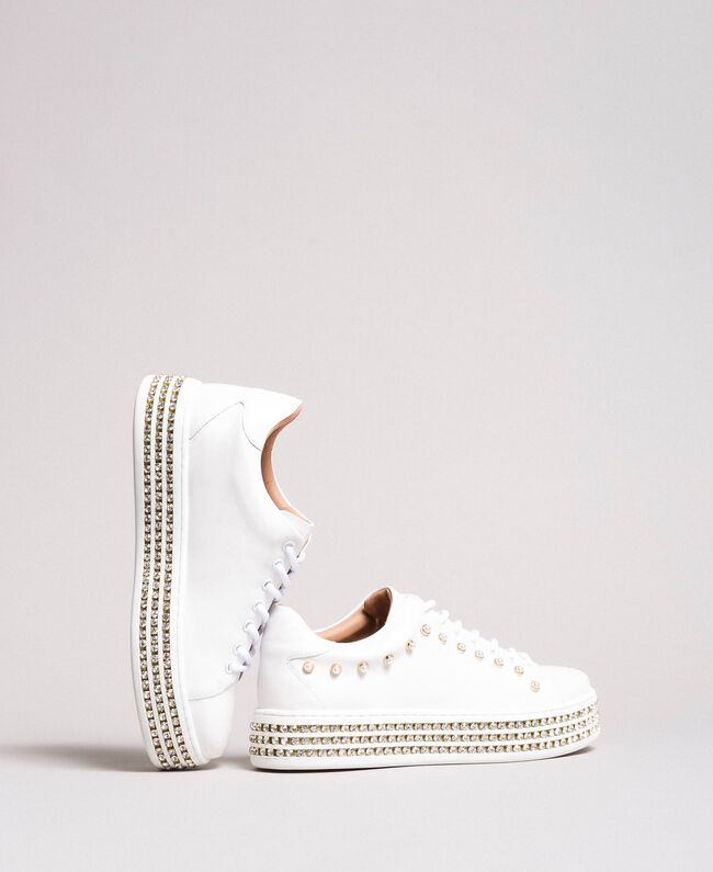 Sneakers in pelle con strass e perle Bianco Donna 191TCP166-01