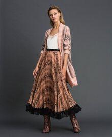 Animal print pleated midi skirt Canyon Pink Python Print Woman 192TT2274-02
