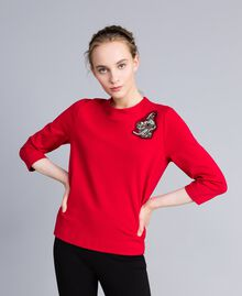 Milan stitch jumper with patch Venetian Red Woman PA821X-01