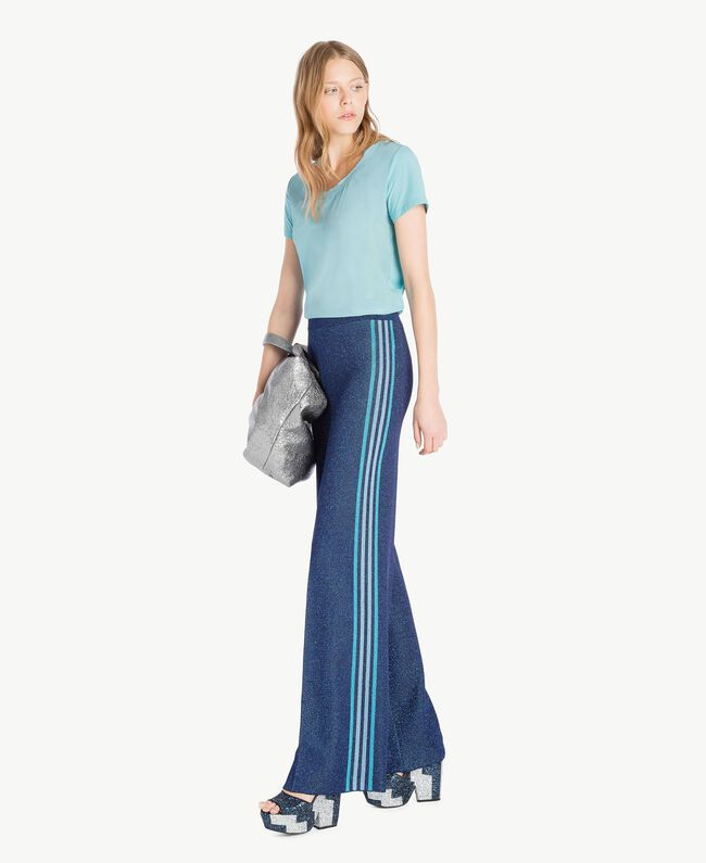 T-shirt soie Bleu ciel Femme PS82HB-05