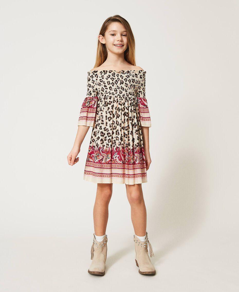 Off-shoulder animal print dress Leopard Spot & Paisley Print Child 211GJ2246-01