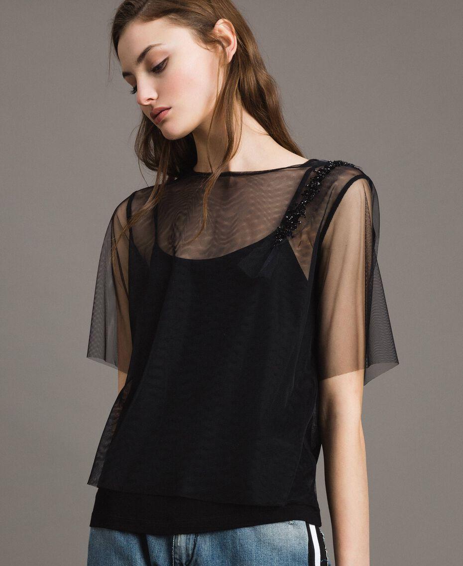Blouse en tulle avec patch brodé Noir Femme 191MP2131-02