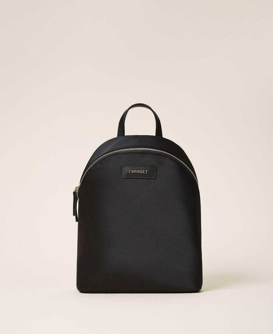 Twinset Bag im Rucksackformat aus Satin Schwarz Frau 202TB7201-02