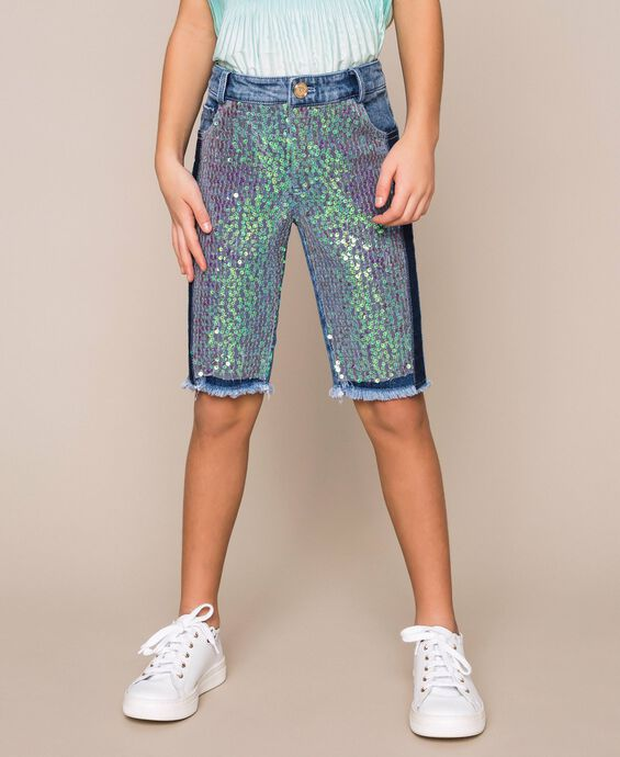 Denim cyclist shorts with sequins