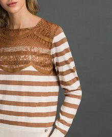 "Wool blend jumper with stripes and lace Creamy White / ""Sequoia"" Beige Woman 192ST3010-01"